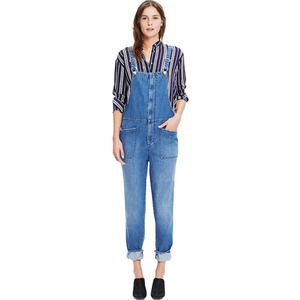 MADEWELL Dungaree Overalls Front Zip Cropped Distressed Denim Size Small